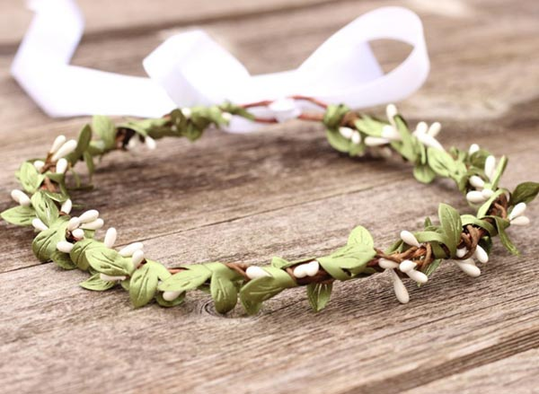 Leaf Headband White Berry Headpiece Bridal Woodland Natural Wedding